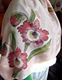 Handpainted Silk Shawl, Scarf with Pink Orchid, Floral silk scarf 55/12-15/75 in, Mother Birthday Gift, Woman summer Fashion, Scarf Shawl, Luxury Shawl.