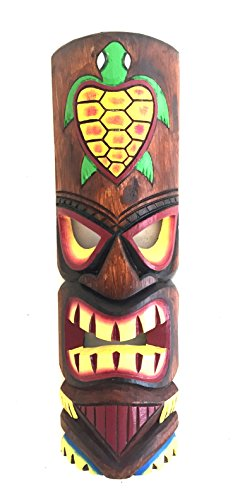 Hand Carved POLYNESIAN HAWAIIAN Tiki Mask Tropical Wall Decor Lucky Turtle - LARGE SIZE - OMA BRAND (Turtle) (Tiki Lucky Mask)