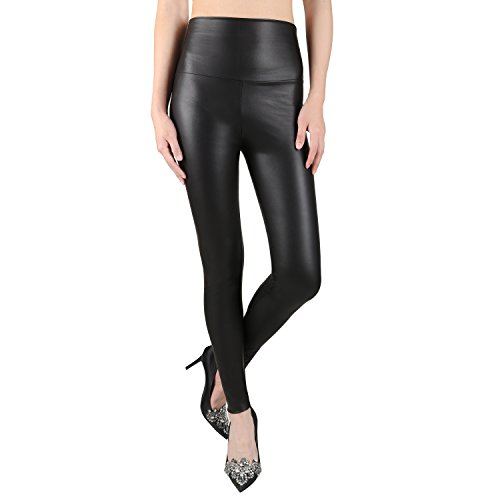 Sexy Faux Leather High Waisted Leggings (M  (US 8-10), matt black)
