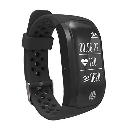 Auntwhale IP68 Waterproof Smart Watch Standby 15 days Blueteeth, Android, Heart Rate Monitoring,Time and Date Display, Pedometer, Calories, Sleep Monitoring - Black by Auntwhale