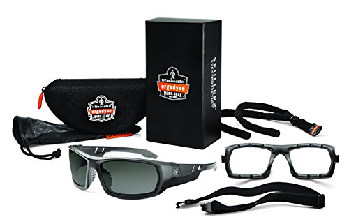 Ergodyne Skullerz Odin Eye Protection Full Frame Safety Sunglass Kit, Matte Black Frame, Smoke Lens (Gateway Diablo)