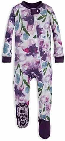 Burt's Bees Baby - Baby Girls Sleeper Pajamas, Zip Front Non-Slip Footed Sleeper PJs, 100% Organic Cotton