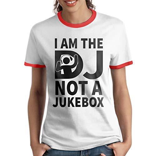 AeosJoy Women's Ringer T-Shirt Dj Revolution, Ladies Tee Short Sleeves Teen Girls Jersey Shirt Red XL