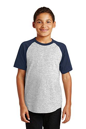 Price comparison product image Sport-Tek Boys Short Sleeve Colorblock Raglan Jersey (YT201) -HEATHER GR -XL