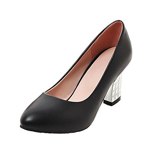 AllhqFashion Damen Ziehen auf Hoher Absatz PU Leder Fransig Spitz Zehe Pumps Schuhe Schwarz