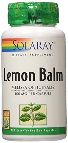 400 Mg Supplements Herbs - Solaray Lemon Balm Herb, 400 mg, 100 Count