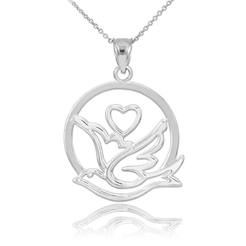 10k White Gold Love Dove with Heart Pendant Necklace, 20