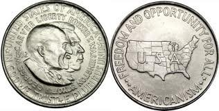 Booker T. Washington and George Washington Carver Circulated United States Silver Half Dollar