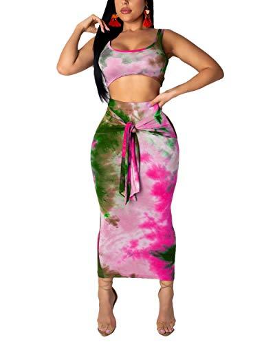 (Women's 2 Piece Dress - Sleeveless Tie Dye Print Crop Top Bodycon Belt Midi Skirt Set Rose Red M)