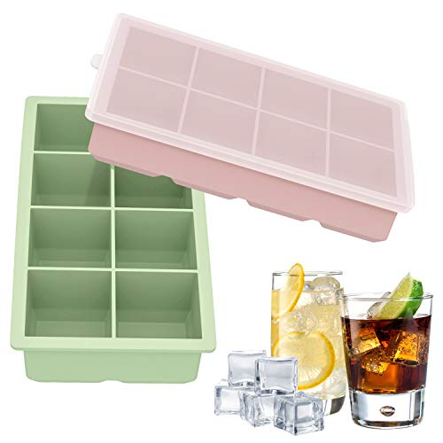 Ozera Large Ice Cube Tray, Silicone Ice Cube Molds Square Ice Cube Trays with Lid for Whiskey and Cocktail, Pack of 2