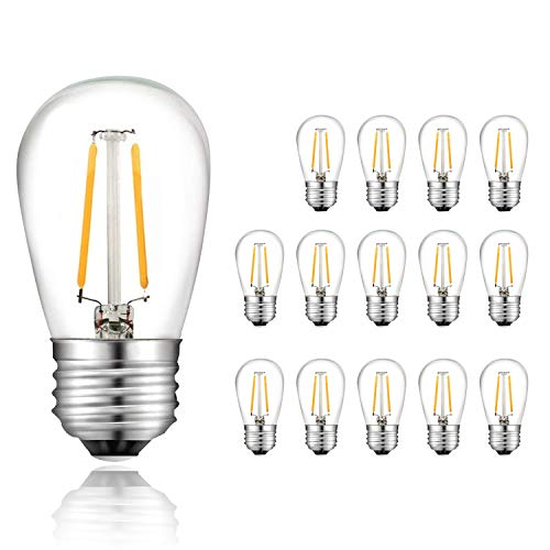 - Svater S14 LED String Lights Replacement Bulb E26 Base Warm White 2700K 2W Equivalent 20W Incandescent Bulb Vintage Filament Glass Bulbs 360 Grad Beam Angle Non-Dimmable 15 Pack