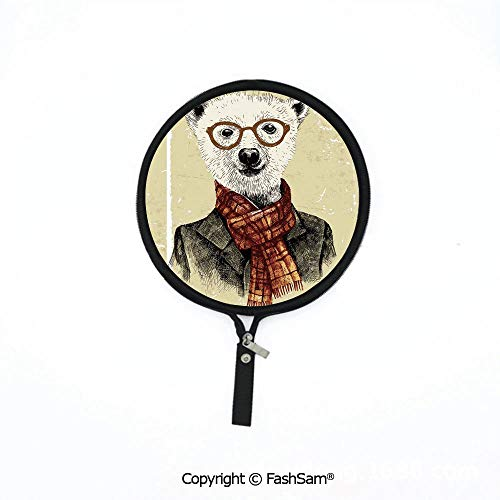 Hot Soft Mouse Bag Multi-Functional Hipster Bear with Glasses Scarf Jacket Wild Mammal Humorous Artwork Waterproof Mouse Pad