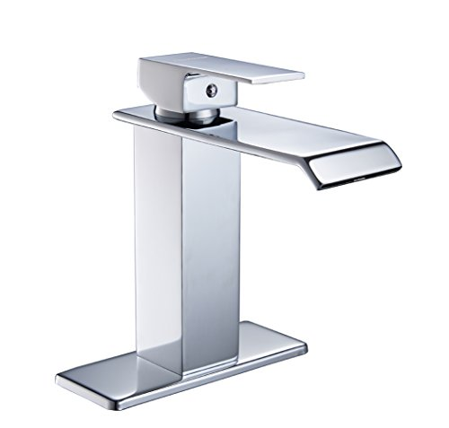 Handles Chrome Waterfall (Aquafaucet Contemporary Deck Mount One Single Handle Square Bath Mixer Taps Widespread Waterfall Bathroom Sink Faucet Chrome Lavatory Bathtub)