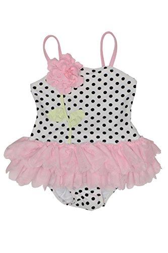 Kate Mack Toddler Girls' Polka Rose Skirted Tank Swimsuit, White/Black, 3T