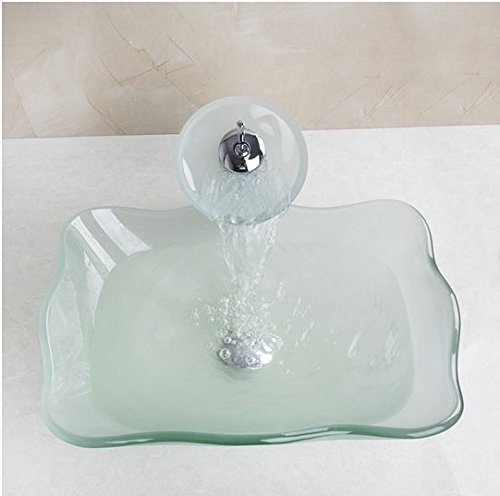 GOWE SquareTempered Glass Vessel Sink With Faucet and Pop-Up Drain Bathroom Sink Set 0
