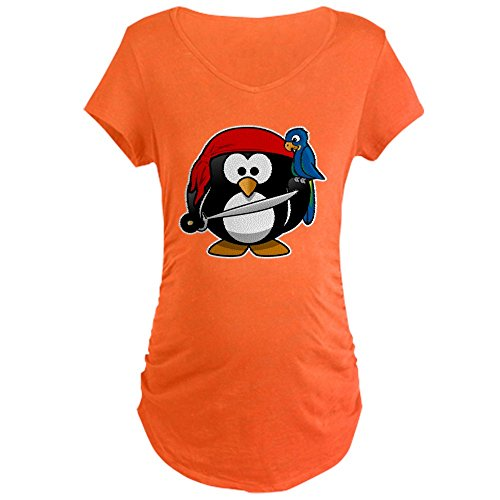 Truly Teague Maternity T-Shirt (Dark) Little Round Penguin - Pirate & Parrot - Coral, Small