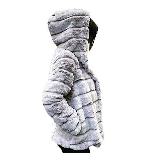 Hatoys Women Winter Hooded Mink Coats New Faux Fur Jacket Warm Thick Outerwear Jacket(X-Large,White)