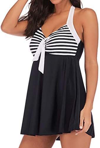 TiTCool Women's Pin Up Swimsuit One Piece Swimdress Sailor Striped Bathing Suit Plus Size Swimwear