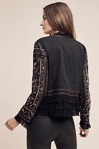 Love Sam Vannes Embroidered Jacket W/Ruffle Trim, Black, XS by Love Sam Vannes Embroidered Jacket, Black, XS (Image #6)
