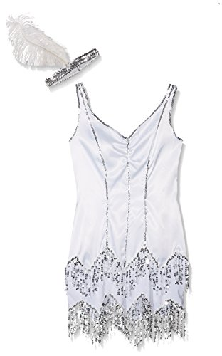 Smiffy's Women's Fever Flapper Dazzle Costume, Dress with Sequins and Headband with Feather, Twenties, Fever, Size 6-8, (20 Style Halloween Costumes Uk)