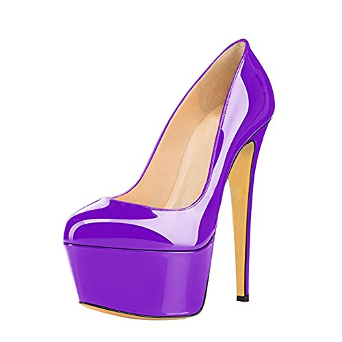 Geschlossene mit Violett Heels Stiletto Pumps Lack Toe Glitzer High Plateau Damen a7w8qdq