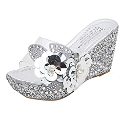Opinionated Women S Rhinestone Sequins Flowers Transparent Platform Wedge Sandals Wedding Party Dress Sandals Silver
