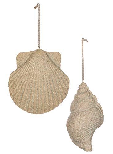 Conch & Scallop Sand Glitter Dusted 5 Inch Resin Stone 2 Piece Christmas Ornament Set (Small Scallop Shell)