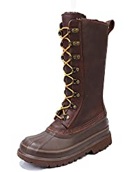 DOWTO Waterproof Mid High Flat Casual Lace UP Leather Winter Snow Boot For Women