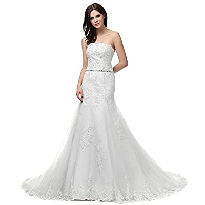 RohmBridal Women's Mermaid Lace Wedding Dress Bridal Gown