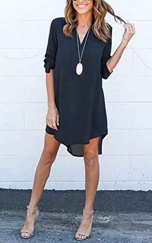 Shirt Gladiolus Mini Blouse Marine Tops Longue Haut T Robe Mousseline Tunique Femme Chemise Manches 6qranAzw61