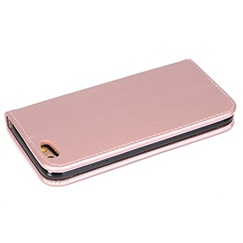 JIALUN-carcasa de telefono Caja de cuero superior de la carpeta de la PU, cubierta del caso del soporte del tirón del folio con el sostenedor y ranuras de la tarjeta y encierro magnético para el iPhon Rosegold