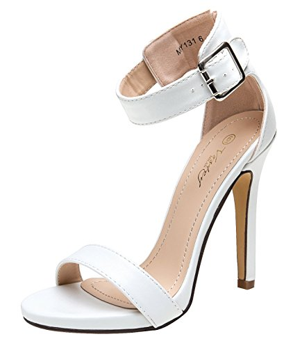 - VOSTEY High Heel Shoes Glitter Heel Sandals for Women Strappy Pumps (8.5,White Pu)