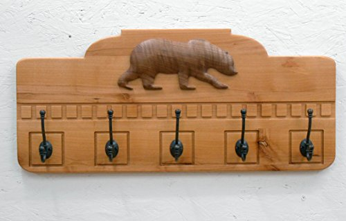 Coat Rack with 3D Bear Carving.