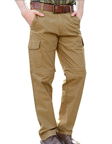 ABUSA Men's Relaxed Fit Casual Work Cargo Pants Nylon/Cotton 33 Khaki Zip-off Convertible (Mens Cargo Zip Off Pants)