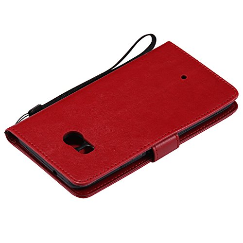 HTC U11 Flip Cuero Funda - Alta Calidad Cuero de la PU /Stent/Billetera/Paquete de Tarjetas/Proteccion Caso Cubrir para HTC U11(Rosa) Rojo