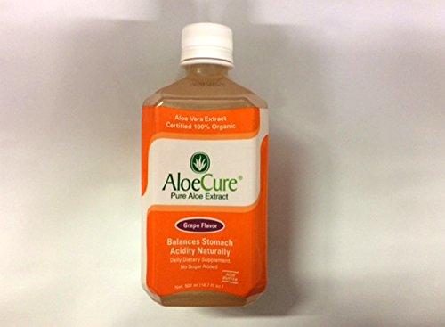 AloeCure чистый Алоэ Вера сок для приступы изжоги, изжога и IBS винограда, 16,7 мл, 1 флакон