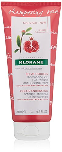 Klorane Sulfate Free Anti-Fade Shampoo with Pomegranate for Color Treated Hair, Color Protection, Adds Vibrancy and Shine, 6.7 oz.