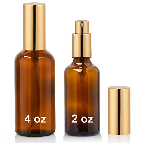 Amber Glass Spray Bottle with Atomizer for Essential Oils, Perfume, Fine Mist Spray (2ozx1,4ozx1)