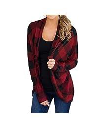 DongDong Womens Casual Coat Long Irregular Lattice Print Jackets Outwear