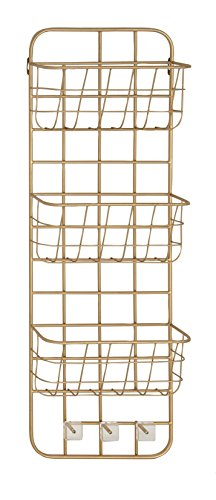 Deco 79 45851 Basket Wall Rack Gold