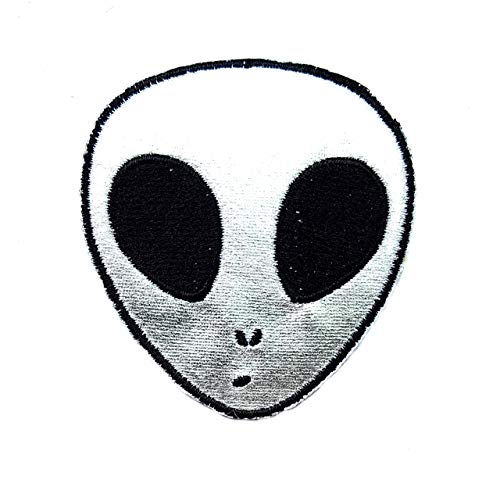 Silver Alien Head UFO Universe Cosmos Galaxy Cartoon Children Kid Patch Clothes Bag T-Shirt Jeans Biker Badge Applique Iron on/Sew On - Genius T-shirt Kids