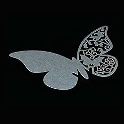 50pcs Butterfly Table Mark Paper Place Card Name Card Wine Glass Card for Wedding Banquet Party Decoration Favor - Silver white