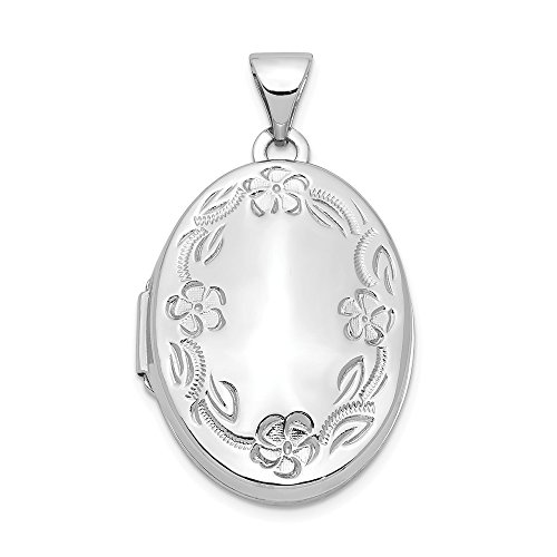14k White Gold 21mm Oval Leaf Floral Scroll Border H/eng Photo Pendant Charm Locket Chain Necklace That Holds Pictures Fine Jewelry Gifts For Women For Her ()