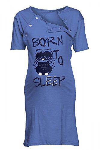 Happy Mama. Para Mujer Camisón Estampado Premamá de Embarazo y Lactancia. 726p Azul Real