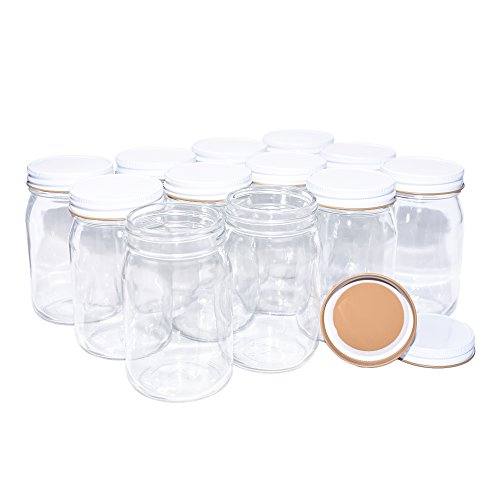 12 Pack Clear Glass Old-Fashioned Jars With Metal Lid (with seal) 16oz -