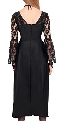 mit Schwarz Kleid und und rot Spitze schwarz Schnürung elegant Schwarz Gothic qq6txB