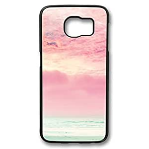 S6 case,Samsung Galaxy S6 case ,fashion durable Black side design for Samsung Galaxy S6,PC material cover ,Designed Specially Pattern with Pink Sky and Ocean.