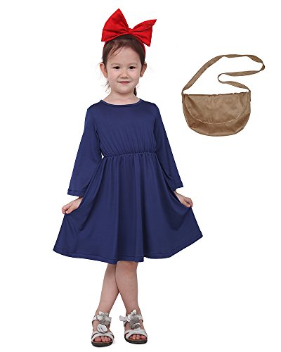 Miccostumes Kids Delivery Service Witch Cosplay Dress with Brown Bag for Little Girl (Blue)]()