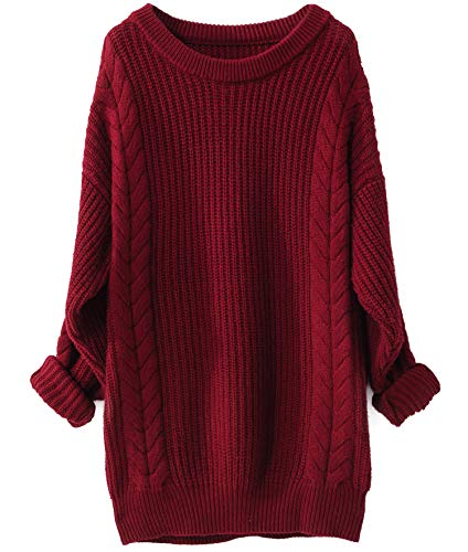 Liny Xin Women's Cashmere Oversized Loose Knitted Crew Neck Long Sleeve Winter Warm Wool Pullover Long Sweater Dresses Tops (Red)