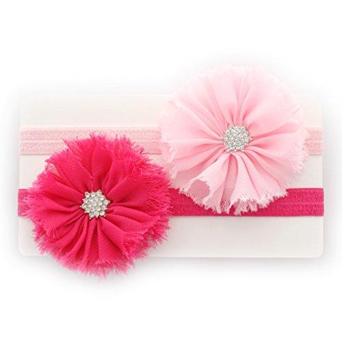 My Lello Baby Flower Headband Shabby Frayed Fabric Ballerina Rhinestones Pair